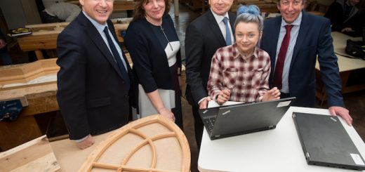 Shrewsbury Colleges Group Principal James Staniforth, Derwen College Principal Meryl Green, Marches LEP board member Professor Ian Oakes, and Telford College Principal Graham Guest with Shrewsbury College student Jessica Stead.